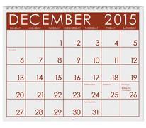 2015 Calendar: Month Of December Stock Photos