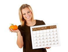 2015 Calendar: Woman Ready For Fall October Season Stock Photos