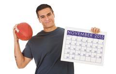 Man Ready For Big Football Game In November 2015 Stock Photos