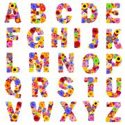 Full Floral Alphabet Isolated on White - Letters A to Z Stock Photos