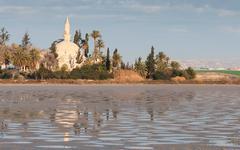 Hala sultan Tekke  Muslim mosque Larnaca Cyprus - stock photo