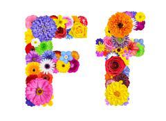 Flower Alphabet Isolated on White - Letter F Stock Photos