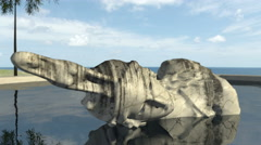 Animated ancient sculpture an old remain in the water 4K - stock footage