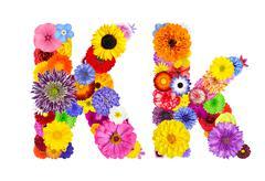 Flower Alphabet Isolated on White - Letter K - stock photo