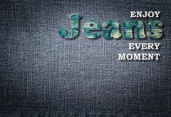 Jeans word on denim background - stock illustration