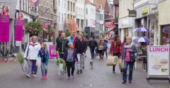 Main shopping street Netherlands Stock Footage