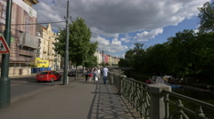 Walking on Masaryk embankment in Prague Stock Footage