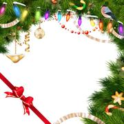 Stock Illustration of Christmas tree branches on white. EPS 10