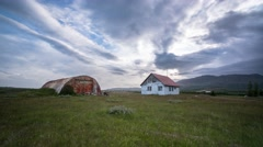 Abandoned Iceland Farm House and Hanger Stock Footage