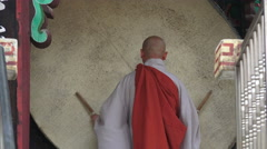 Ceremonial Drum And Monk At Jogyesa Buddhist Temple With Audio Stock Footage