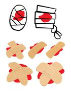 Stock Illustration of Set of Adhesive  plaster and bandage with red  blood puddle. Medical equipmen