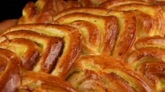 Baked sweet braided bread loaf, closeup Stock Footage
