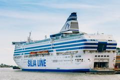 Stock Photo of Modern ferry boat Silja Line at pier awaiting loading cargo