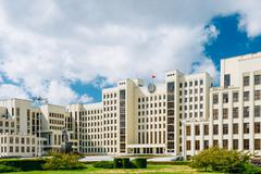 White Government Parliament Building - National Assembly of Belarus on Stock Photos
