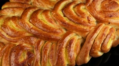 Baked sweet braided bread loaf Stock Footage