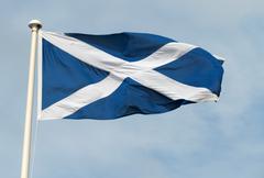 Scottish St. Andrews cross flag. - stock photo