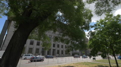 Traffic in front of the New Building of National Museum, Prague Stock Footage