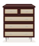 modern wooden furniture chest of drawers vector illustration - stock illustration