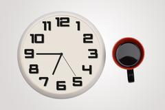 Clock & cup of coffee isolated on banner Stock Photos