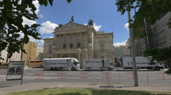 The State Opera facade in Prague Stock Footage
