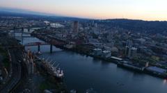City of Portland, Oregon, USA aerial video at dusk: 4K Ultra HD Stock Footage