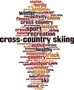 cross-country skiing word cloud - stock illustration