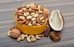 Set of Dry Fruits in a Bowl & Coconut Shell Stock Photos
