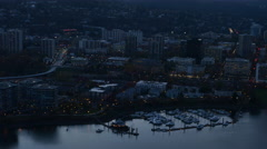 City of Portland, Oregon, USA aerial video at dusk: 4K Ultra HD Stock Footage