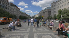 Relaxing and walking in Wenceslas Square, Prague Stock Footage