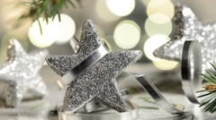 Silver christmas stars with detail of needles - stock footage