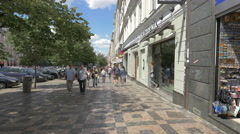 Resting at Da Capo restaurant and walking in Wenceslas Square, Prague Stock Footage