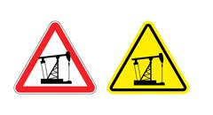 Warning sign of attention to pump oil. Hazard yellow sign fuel production. An Stock Illustration