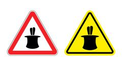 Warning sign of attention magic tricks. Hazard yellow sign magic cylinder and Stock Illustration