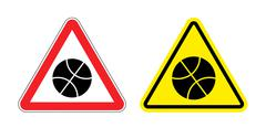 Warning sign attention to basketball. Hazard yellow sign to play in ball game Piirros
