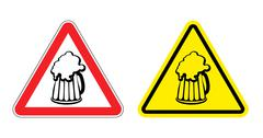 Stock Illustration of Warning sign attention beer mug. Hazard yellow sign to drink alcohol. Cup dri