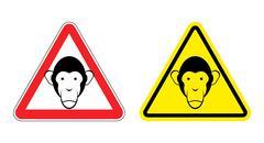 Warning sign attention monkey. Hazard yellow sign head monkeys. Silhouette Ch Stock Illustration