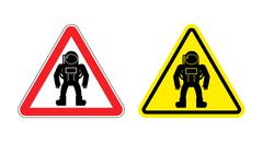 Warning sign astronaut. Hazard yellow sign cosmic man. Silhouette astronaut i Stock Illustration