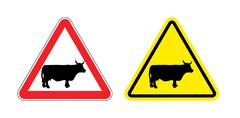 Warning sign attention cow. Hazard yellow sign herding. Silhouette mammal ani - stock illustration