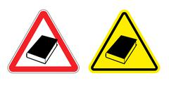 Warning sign formation. Danger of Yellow Book. Silhouette of old books at red - stock illustration