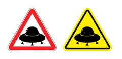 Warning sign of a UFO. Hazard yellow sign flying saucer. Silhouette space shi Piirros