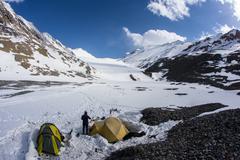Tent in the mountains, northern lights, aurora borealis Kuvituskuvat