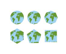 Set of geometric shapes of world atlases. Map of planet earth . Earth is roun Piirros