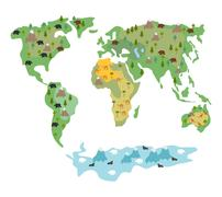 Map of  world with animals and trees. Geographic map of  globe with flora and - stock illustration