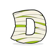 Letter D Mummy. Typography icon in bandages. Egyptian zombie template element - stock illustration