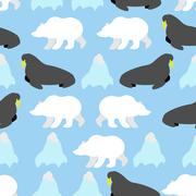 Walrus and polar bear seamless pattern. Background of Nordic animals and iceb Stock Illustration