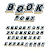 Font book. Alphabet on covers of books.  ABCs of log on vintage hardcover boo - stock illustration
