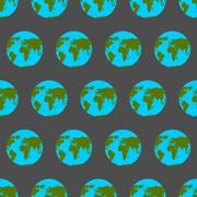 Planet Earth with continents and oceans seamless pattern. Background of atlas - stock illustration