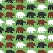 Bears seamless pattern. background of wild Grizzly. Flock of wild animal. Orn Stock Illustration