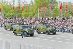 Russian military transport at the parade on annual Victory Day Stock Photos