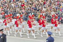 Russian military women orchestra march at the parade on annual Victory Day Stock Photos